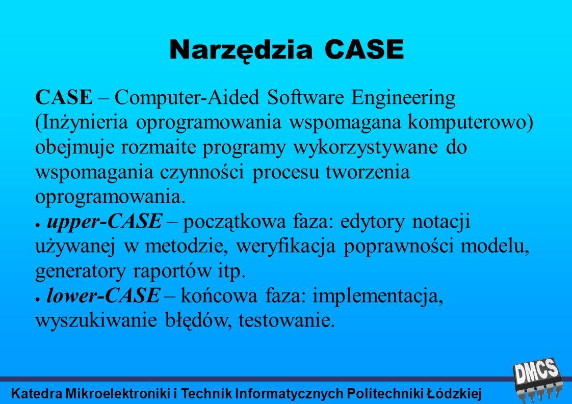 Katedra Mikroelektroniki i Technik Informatycznych Politechniki Łódzkiej Narzędzia CASE CASE – Computer-Aided Software Engineering (Inżynieria oprogramowania wspomagana komputerowo) obejmuje rozmaite programy wykorzystywane do wspomagania czynności procesu tworzenia oprogramowania.