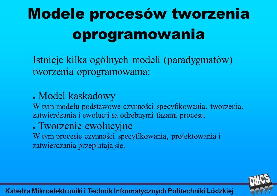 Katedra Mikroelektroniki i Technik Informatycznych Politechniki Łódzkiej Modele procesów tworzenia oprogramowania Istnieje kilka ogólnych modeli (paradygmatów) tworzenia oprogramowania: Model kaskadowy W tym modelu podstawowe czynności specyfikowania, tworzenia, zatwierdzania i ewolucji są odrębnymi fazami procesu.