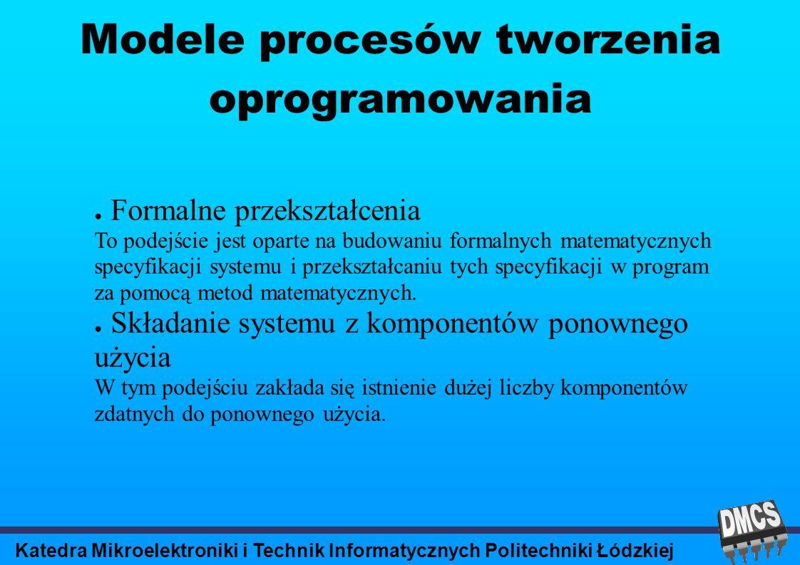 Katedra Mikroelektroniki i Technik Informatycznych Politechniki Łódzkiej Modele procesów tworzenia oprogramowania Formalne przekształcenia To podejście jest oparte na budowaniu formalnych matematycznych specyfikacji systemu i przekształcaniu tych specyfikacji w program za pomocą metod matematycznych.