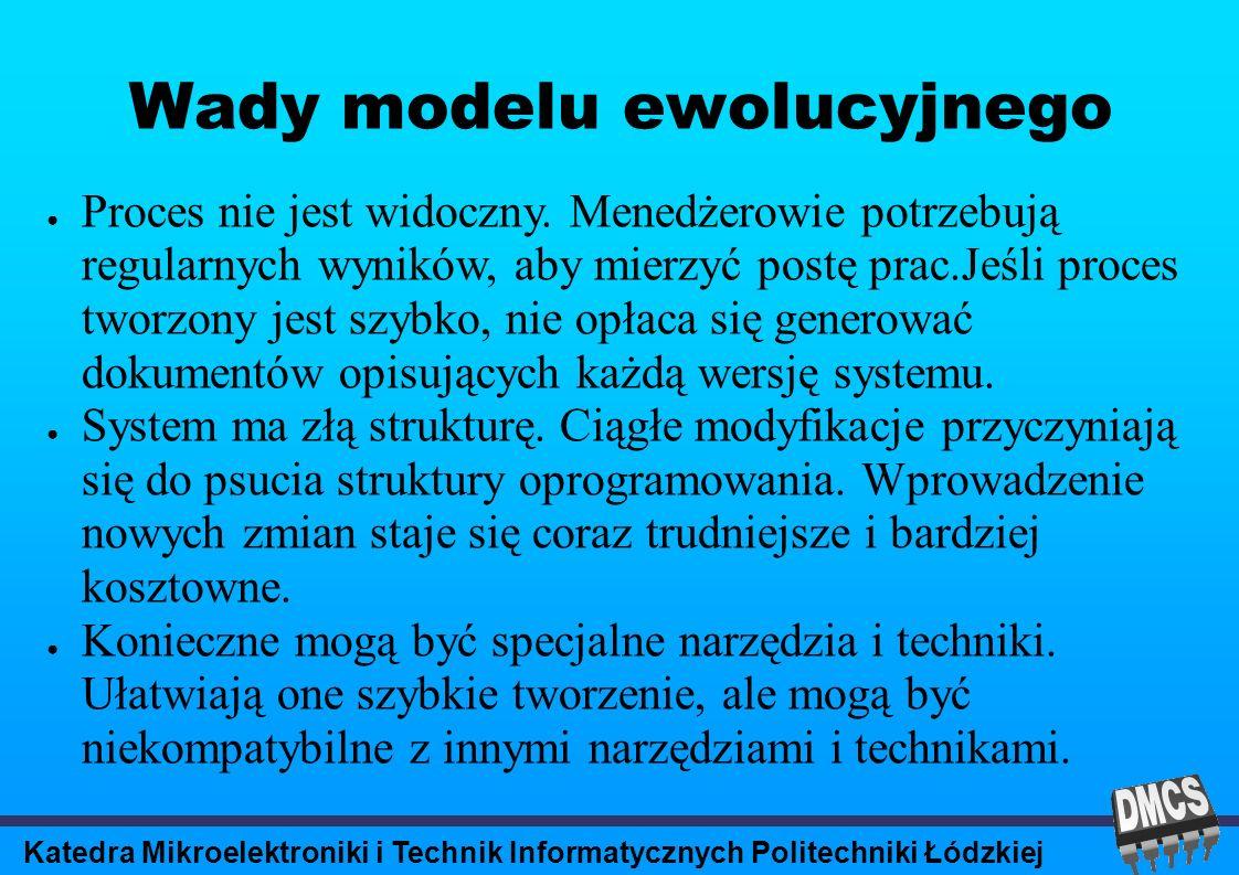 Katedra Mikroelektroniki i Technik Informatycznych Politechniki Łódzkiej Wady modelu ewolucyjnego Proces nie jest widoczny.