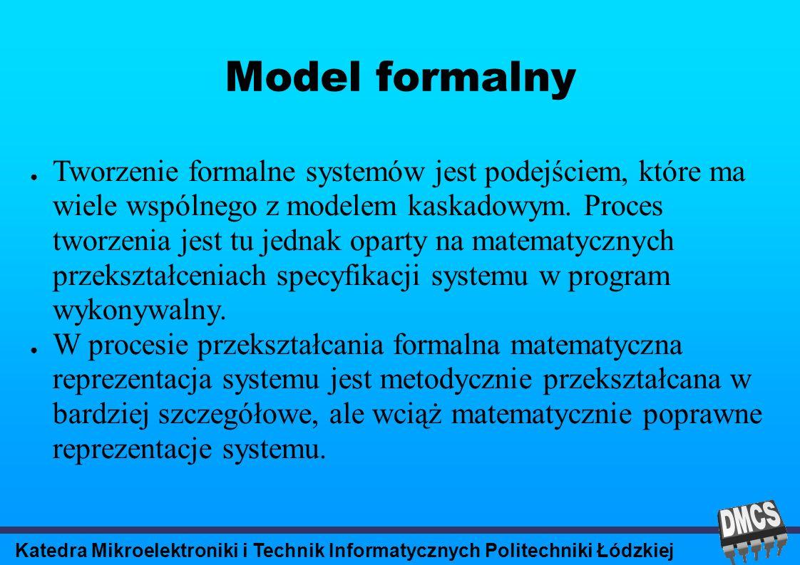 Katedra Mikroelektroniki i Technik Informatycznych Politechniki Łódzkiej Model formalny Tworzenie formalne systemów jest podejściem, które ma wiele wspólnego z modelem kaskadowym.