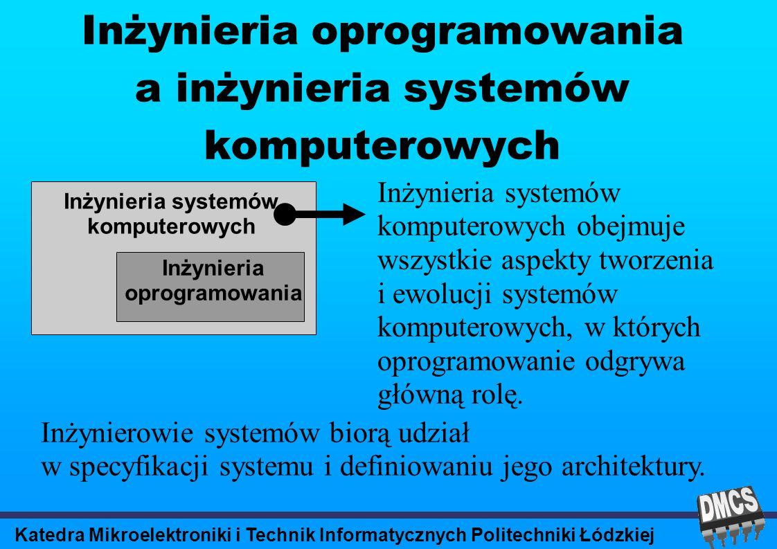 Katedra Mikroelektroniki i Technik Informatycznych Politechniki Łódzkiej Inżynieria oprogramowania a inżynieria systemów komputerowych Inżynieria systemów komputerowych Inżynieria oprogramowania Inżynieria systemów komputerowych obejmuje wszystkie aspekty tworzenia i ewolucji systemów komputerowych, w których oprogramowanie odgrywa główną rolę.