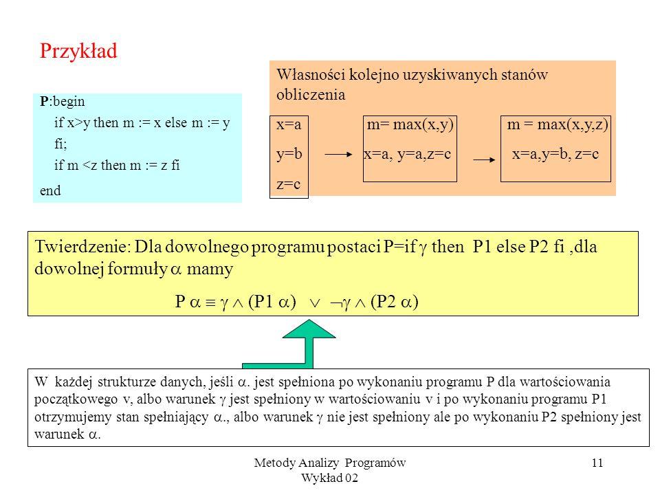Metody Analizy Programów Wykład 02 10 Instrukcje warunkowe Składnia: if then P1 else P2 fi Semantyka ( przy ustalonej strukturze M ): v : x y z if the