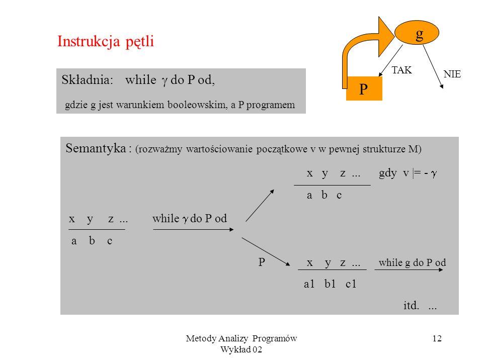 Metody Analizy Programów Wykład 02 11 Przykład P:begin if x>y then m := x else m := y fi; if m <z then m := z fi end Własności kolejno uzyskiwanych st
