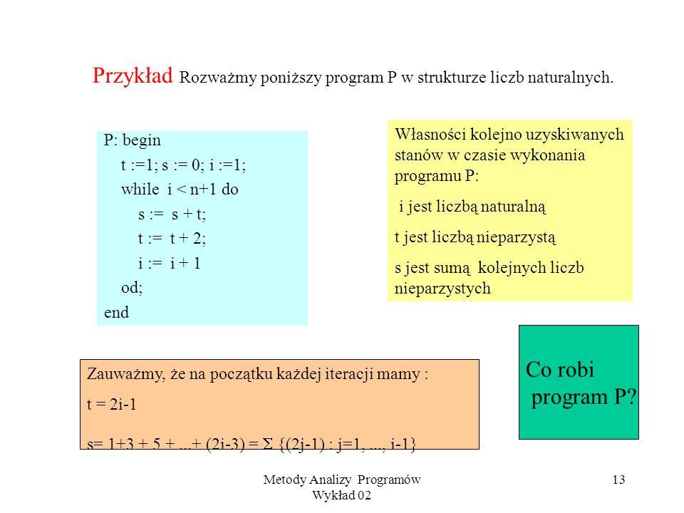Metody Analizy Programów Wykład 02 12 Instrukcja pętli Składnia: while do P od, gdzie g jest warunkiem booleowskim, a P programem Semantyka : (rozważm