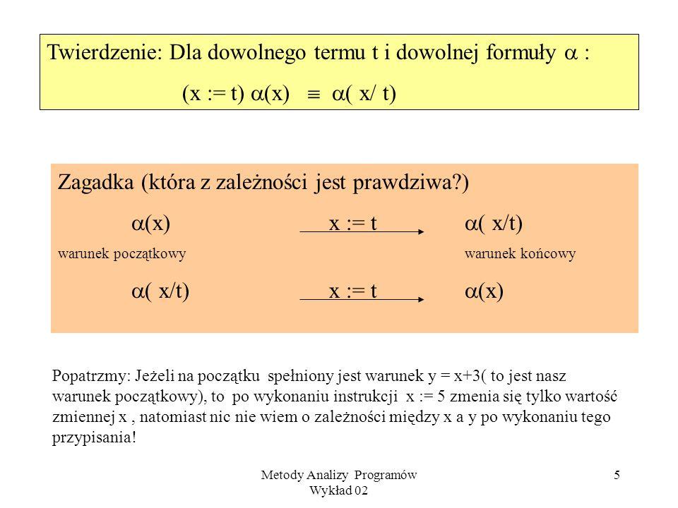 Metody Analizy Programów Wykład 02 5 Twierdzenie: Dla dowolnego termu t i dowolnej formuły : (x := t) (x) ( x/ t) Zagadka (która z zależności jest prawdziwa?) (x)x := t ( x/t) warunek początkowywarunek końcowy ( x/t)x := t (x) Popatrzmy: Jeżeli na początku spełniony jest warunek y = x+3( to jest nasz warunek początkowy), to po wykonaniu instrukcji x := 5 zmenia się tylko wartość zmiennej x, natomiast nic nie wiem o zależności między x a y po wykonaniu tego przypisania!
