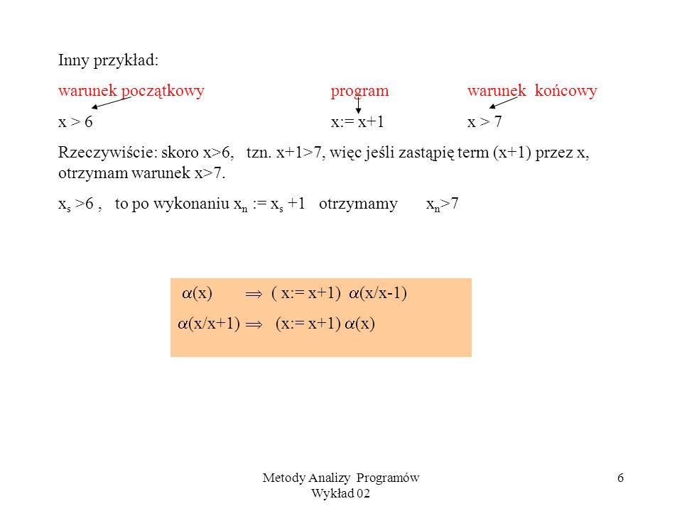 Metody Analizy Programów Wykład 02 6 Inny przykład: warunek początkowy programwarunek końcowy x > 6x:= x+1x > 7 Rzeczywiście: skoro x>6, tzn.