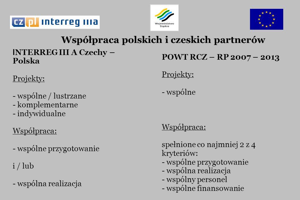 I NTERREG III A Czechy – Polska Projekty: - wspólne / lustrzane - komplementarne - indywidualne Współpraca: - wspólne przygotowanie i / lub - wspólna