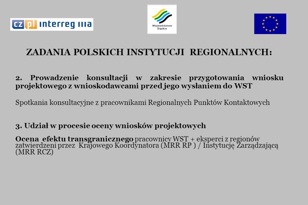 ZADANIA POLSKICH INSTYTUCJI REGIONALNYCH: 2. Prowadzenie konsultacji w zakresie przygotowania wniosku projektowego z wnioskodawcami przed jego wysłani