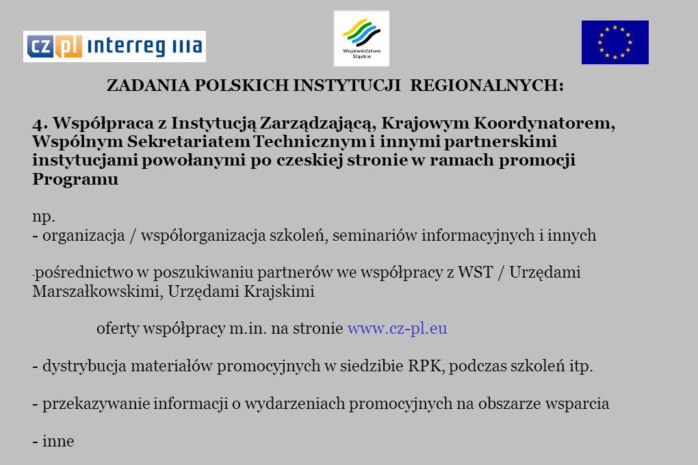 ZADANIA POLSKICH INSTYTUCJI REGIONALNYCH: 4. Współpraca z Instytucją Zarządzającą, Krajowym Koordynatorem, Wspólnym Sekretariatem Technicznym i innymi
