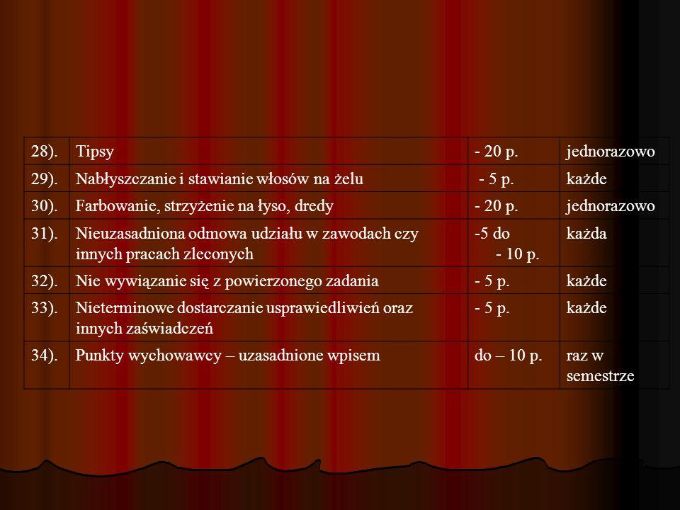 8.Suma uzyskanych punktów stanowi o ocenie śródrocznej lub końcoworocznej.
