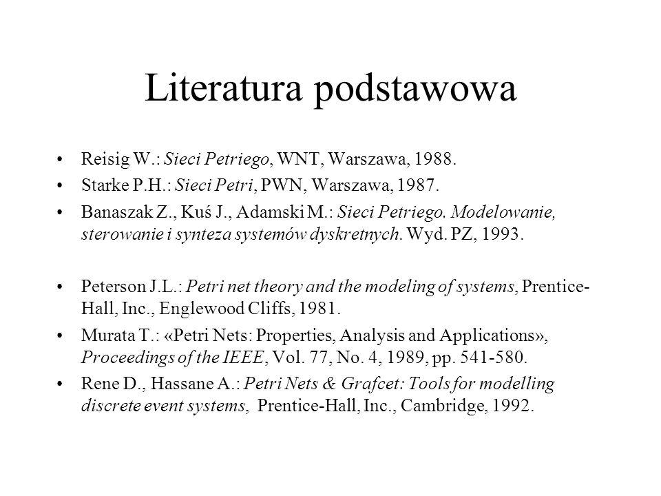 Literatura podstawowa Reisig W.: Sieci Petriego, WNT, Warszawa, 1988.