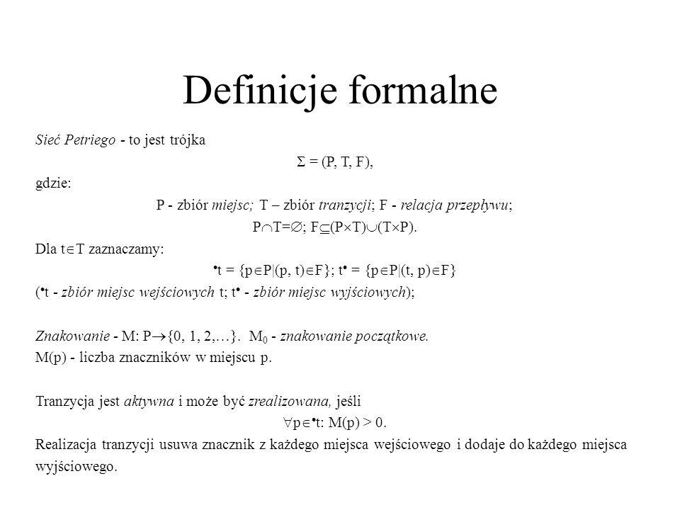 Definicje formalne Sieć Petriego - to jest trójka = (P, T, F), gdzie: P - zbiór miejsc; T – zbiór tranzycji; F - relacja przepływu; P T= ; F (P T) (T P).
