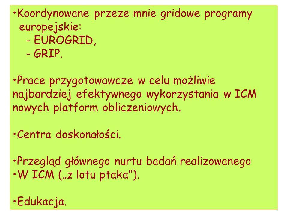 Koordynowane przeze mnie gridowe programy europejskie: - EUROGRID, - GRIP. Prace przygotowawcze w celu możliwie najbardziej efektywnego wykorzystania