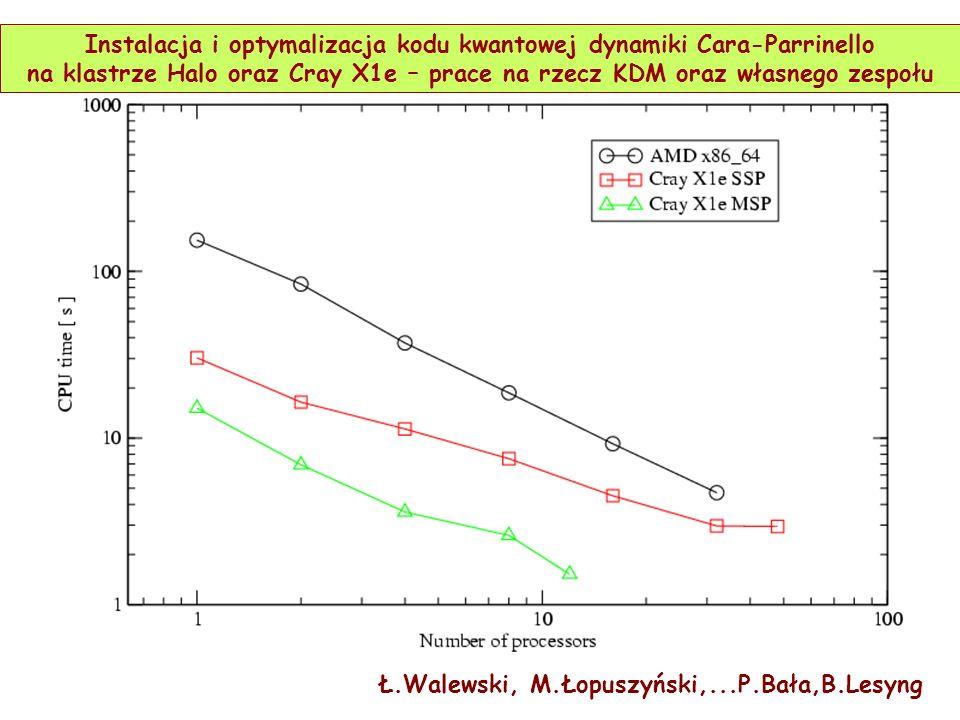 Ł.Walewski, M.Łopuszyński,...P.Bała,B.Lesyng Instalacja i optymalizacja kodu kwantowej dynamiki Cara-Parrinello na klastrze Halo oraz Cray X1e – prace