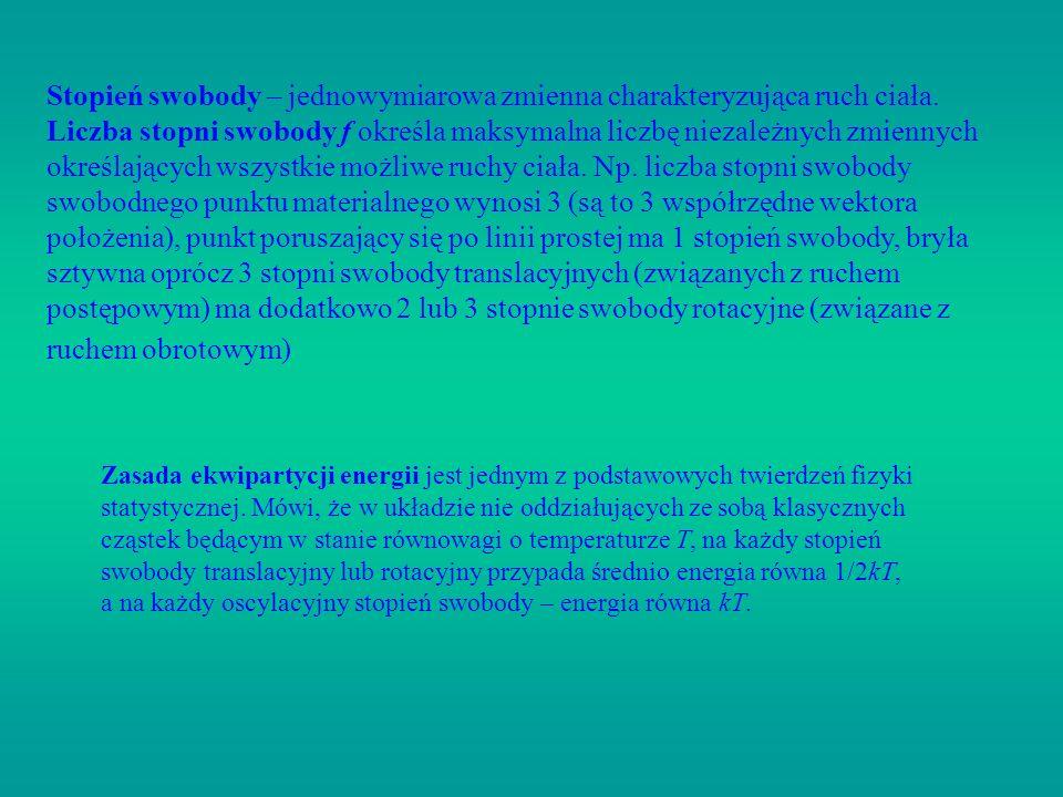 Stopień swobody – jednowymiarowa zmienna charakteryzująca ruch ciała. Liczba stopni swobody f określa maksymalna liczbę niezależnych zmiennych określa