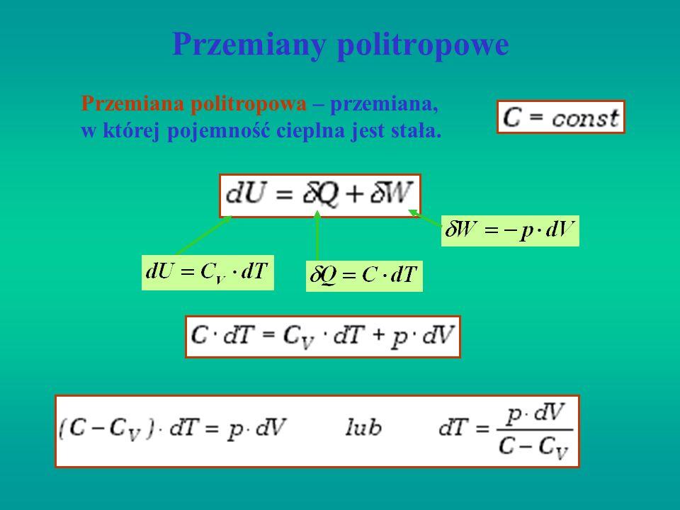 Przemiany politropowe Przemiana politropowa – przemiana, w której pojemność cieplna jest stała.