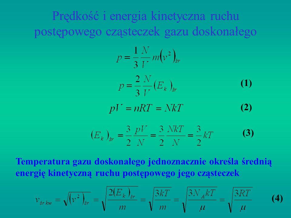 Prędkość i energia kinetyczna ruchu postępowego cząsteczek gazu doskonałego (1) (2) (3) (4) Temperatura gazu doskonałego jednoznacznie określa średnią