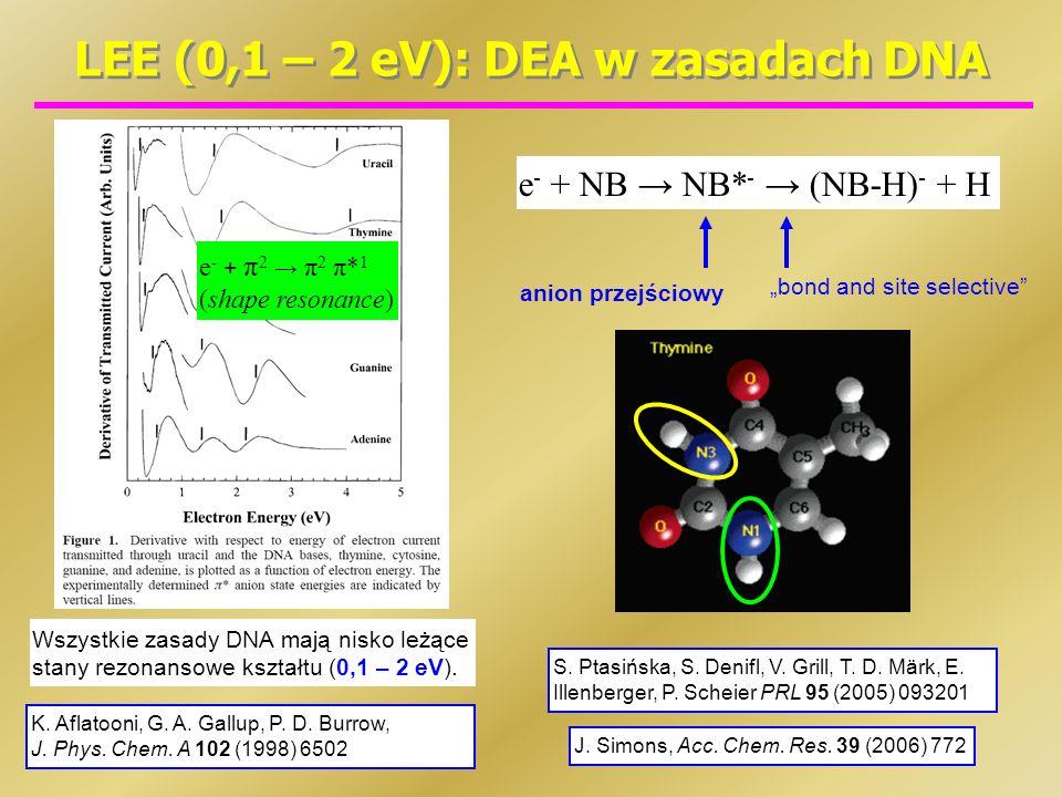 LEE (0,1 – 2 eV): DEA w zasadach DNA J. Simons, Acc. Chem. Res. 39 (2006) 772 K. Aflatooni, G. A. Gallup, P. D. Burrow, J. Phys. Chem. A 102 (1998) 65