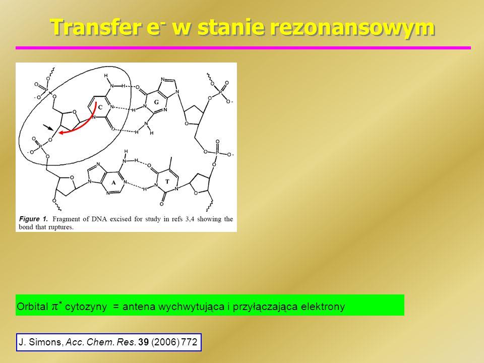 Transfer e - w stanie rezonansowym J. Simons, Acc. Chem. Res. 39 (2006) 772 Orbital π * cytozyny = antena wychwytująca i przyłączająca elektrony