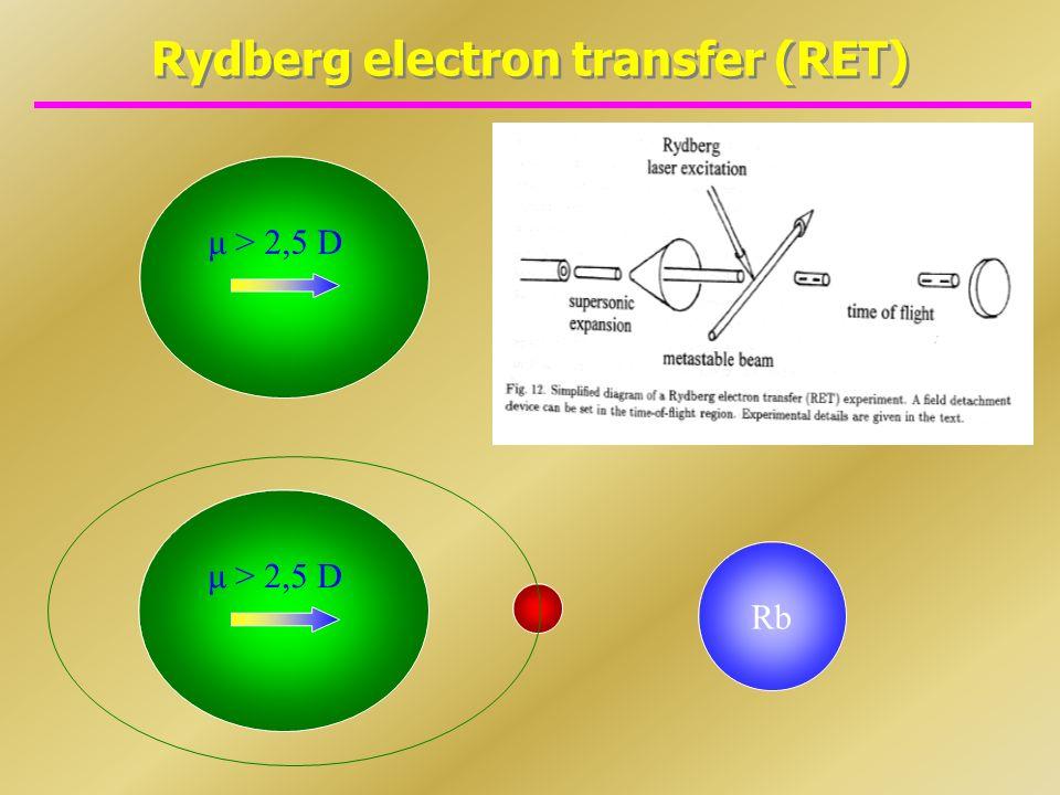 Rydberg electron transfer (RET) Rb μ > 2,5 D Rb μ > 2,5 D