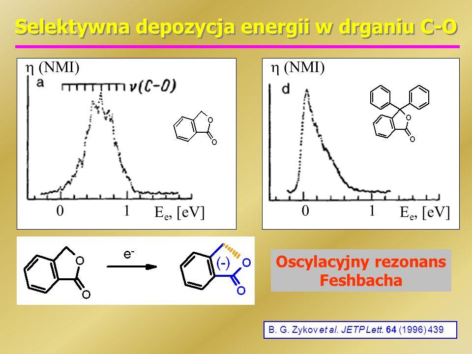 Selektywna depozycja energii w drganiu C-O B. G. Zykov et al. JETP Lett. 64 (1996) 439 E e, [eV] 01 (NMI) E e, [eV] 01 (NMI) Oscylacyjny rezonans Fesh