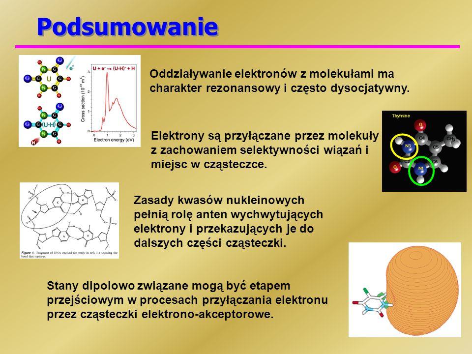 Podsumowanie Oddziaływanie elektronów z molekułami ma charakter rezonansowy i często dysocjatywny. Elektrony są przyłączane przez molekuły z zachowani