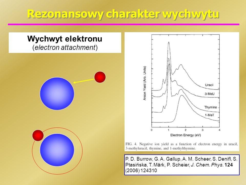 Rezonansowy charakter wychwytu Wychwyt elektronu (electron attachment) P. D. Burrow, G. A. Gallup, A. M. Scheer, S. Denifl, S. Ptasińska, T. Märk, P.