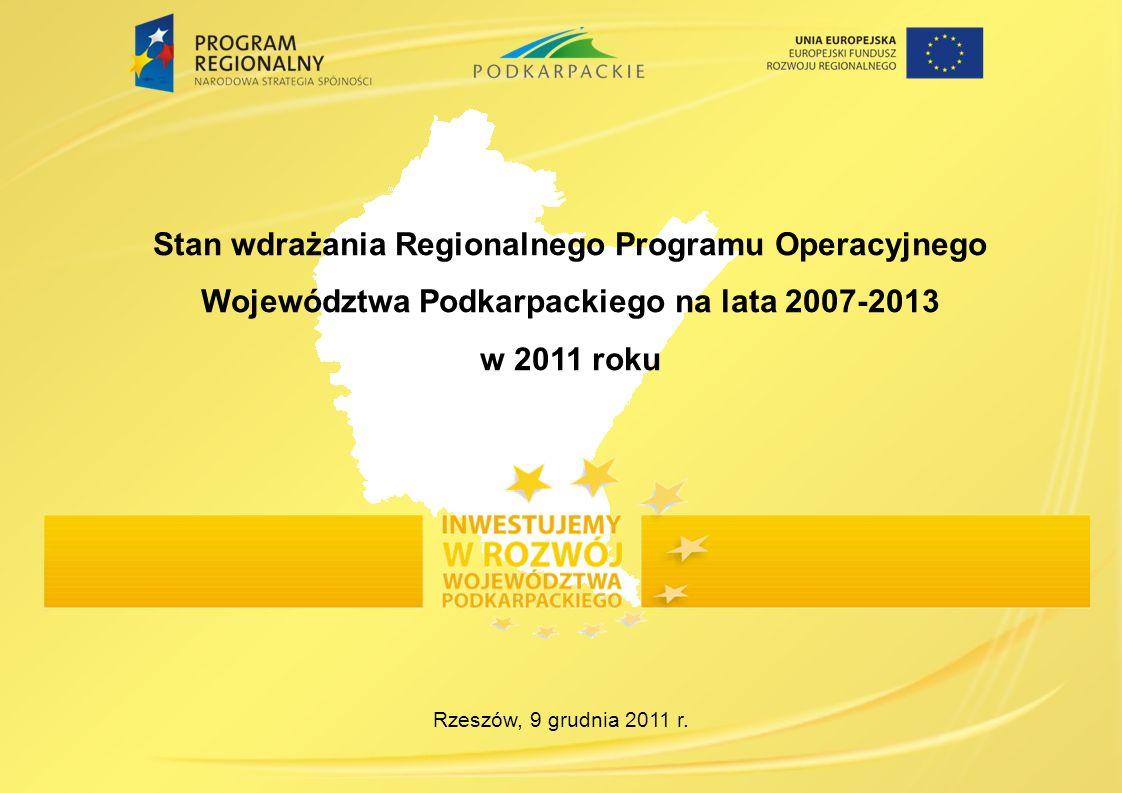 Rzeszów, 9 grudnia 2011 r. Stan wdrażania Regionalnego Programu Operacyjnego Województwa Podkarpackiego na lata 2007-2013 w 2011 roku