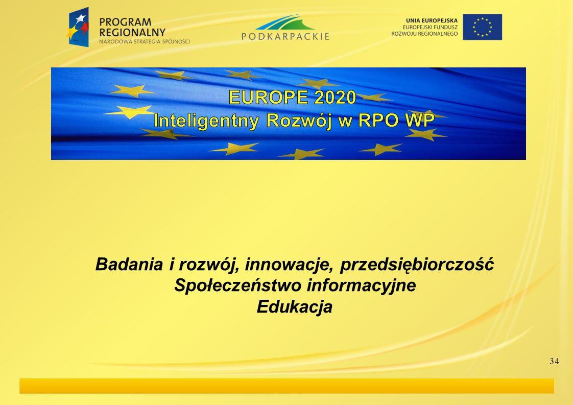 Badania i rozwój, innowacje, przedsiębiorczość Społeczeństwo informacyjne Edukacja 34