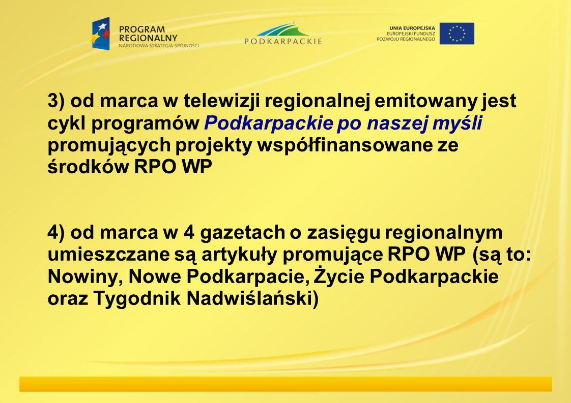 3) od marca w telewizji regionalnej emitowany jest cykl programów Podkarpackie po naszej myśli promujących projekty współfinansowane ze środków RPO WP