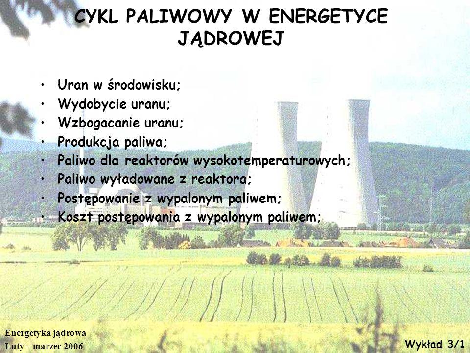 Energetyka jądrowa Luty – marzec 2006 Wykład 3/12 Wzbogacanie Separative Work Units (SWU) Jednostka, określająca nakład pracy przy wzbogacaniu uranu SWU=O*V(xo)+P*V(xp)-Z*V(xz) V(x)=(1-2x)*ln((1-x)/x) P=Z*(xz-xo)/(xp-xo) Z - ilość wprowadzanego do wzbogacenia surowca (U) w kg, xz - wzbogacenie surowca; P - ilość wzbogaconego U w kg, xp – jego wzbogacenie; O - ilość zubożonego U w kg, xo – wzbogacenie zubożonego uranu ; Wzbogacenie porcji uranu dla rocznej eksploatacji bloku EJ 1GWe wymaga 100 000 SWU