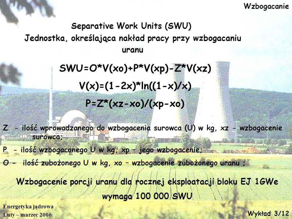 Energetyka jądrowa Luty – marzec 2006 Wykład 3/12 Wzbogacanie Separative Work Units (SWU) Jednostka, określająca nakład pracy przy wzbogacaniu uranu S