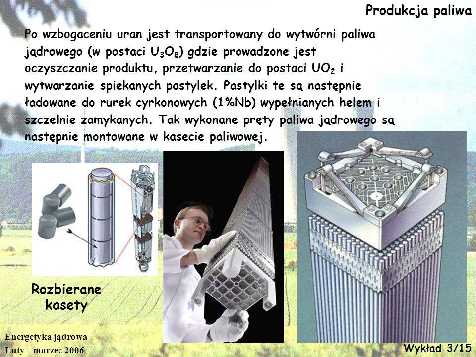 Energetyka jądrowa Luty – marzec 2006 Wykład 3/15 Produkcja paliwa Po wzbogaceniu uran jest transportowany do wytwórni paliwa jądrowego (w postaci U 3