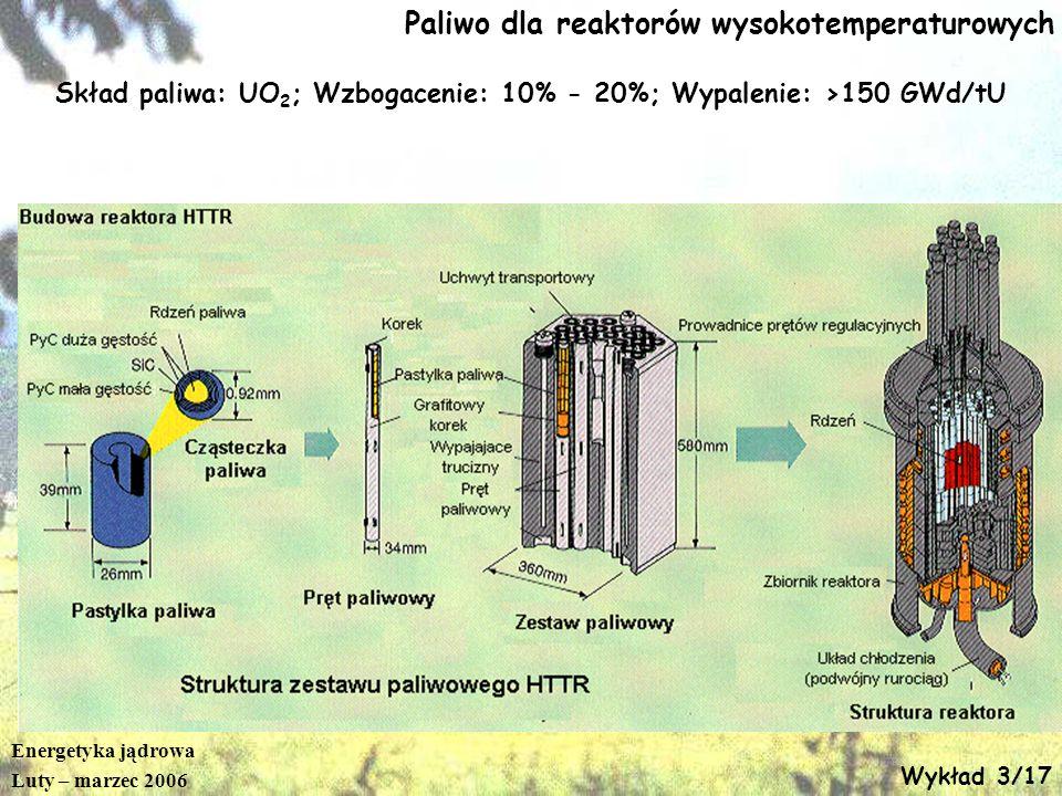 Energetyka jądrowa Luty – marzec 2006 Wykład 3/17 Paliwo dla reaktorów wysokotemperaturowych Skład paliwa: UO 2 ; Wzbogacenie: 10% - 20%; Wypalenie: >