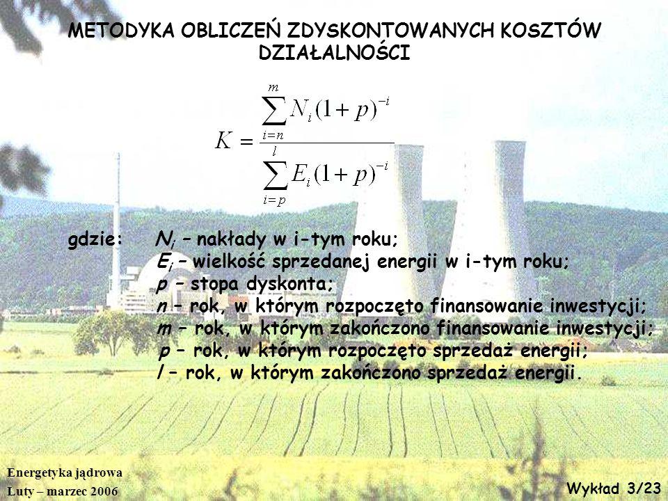 Energetyka jądrowa Luty – marzec 2006 Wykład 3/23 METODYKA OBLICZEŃ ZDYSKONTOWANYCH KOSZTÓW DZIAŁALNOŚCI gdzie: N i – nakłady w i-tym roku; E i – wiel