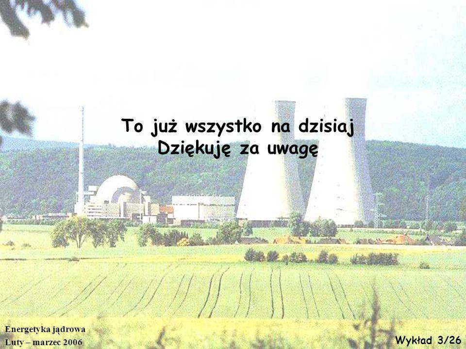 Energetyka jądrowa Luty – marzec 2006 Wykład 3/26 To już wszystko na dzisiaj Dziękuję za uwagę