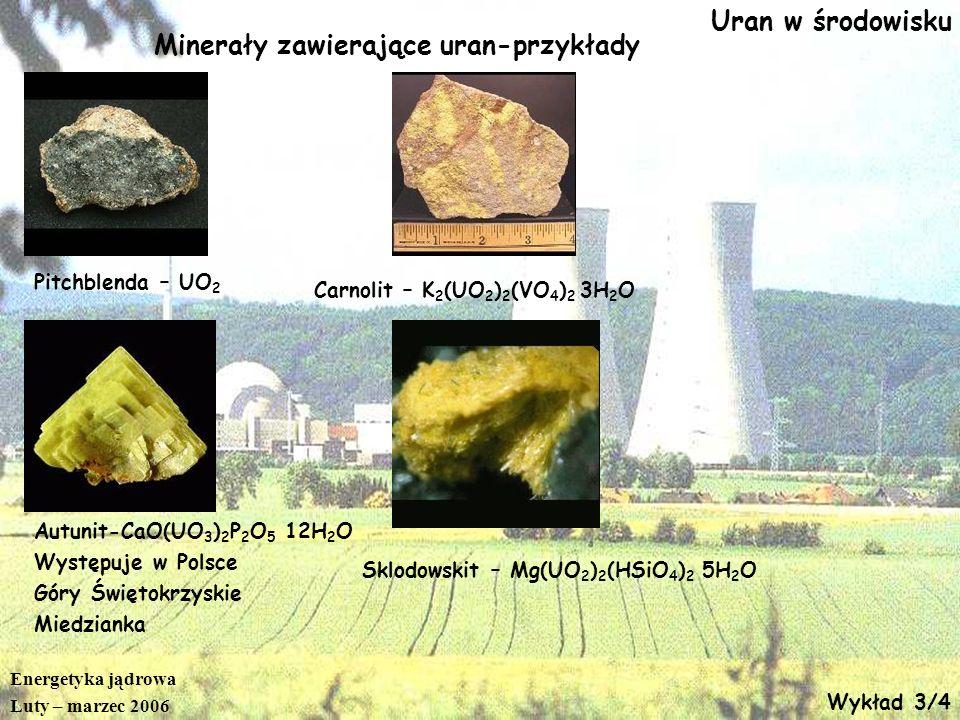 Energetyka jądrowa Luty – marzec 2006 Wykład 3/5 Wydobycie uranu Światowe rozpoznane zasoby uranu – mln ton U <80 $/kgU <130 $/kgU Australia 1,074 1,910 Kazachstan 0,662 0,957 Kanada 0,439 0,532 Poł.