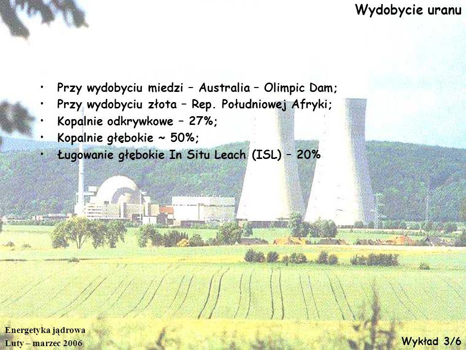 Energetyka jądrowa Luty – marzec 2006 Wykład 3/6 Wydobycie uranu Przy wydobyciu miedzi – Australia – Olimpic Dam; Przy wydobyciu złota – Rep. Południo