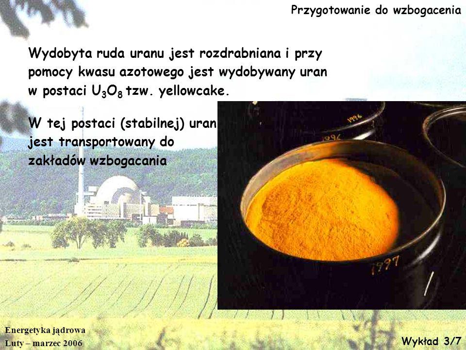 Energetyka jądrowa Luty – marzec 2006 Wykład 3/7 Przygotowanie do wzbogacenia Wydobyta ruda uranu jest rozdrabniana i przy pomocy kwasu azotowego jest