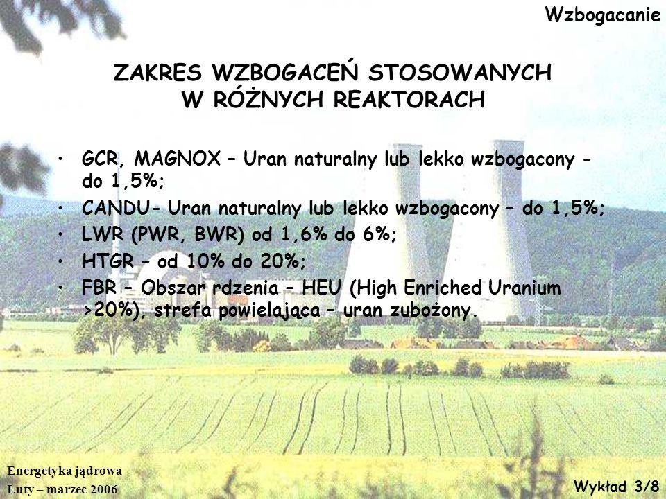 Energetyka jądrowa Luty – marzec 2006 Wykład 3/9 Wzbogacanie Do wzbogacania uran jest podawany w postaci sześciofluorku uranu – UF 6 w temperaturze>50 o C W tej temperaturze UF 6 jest gazem.