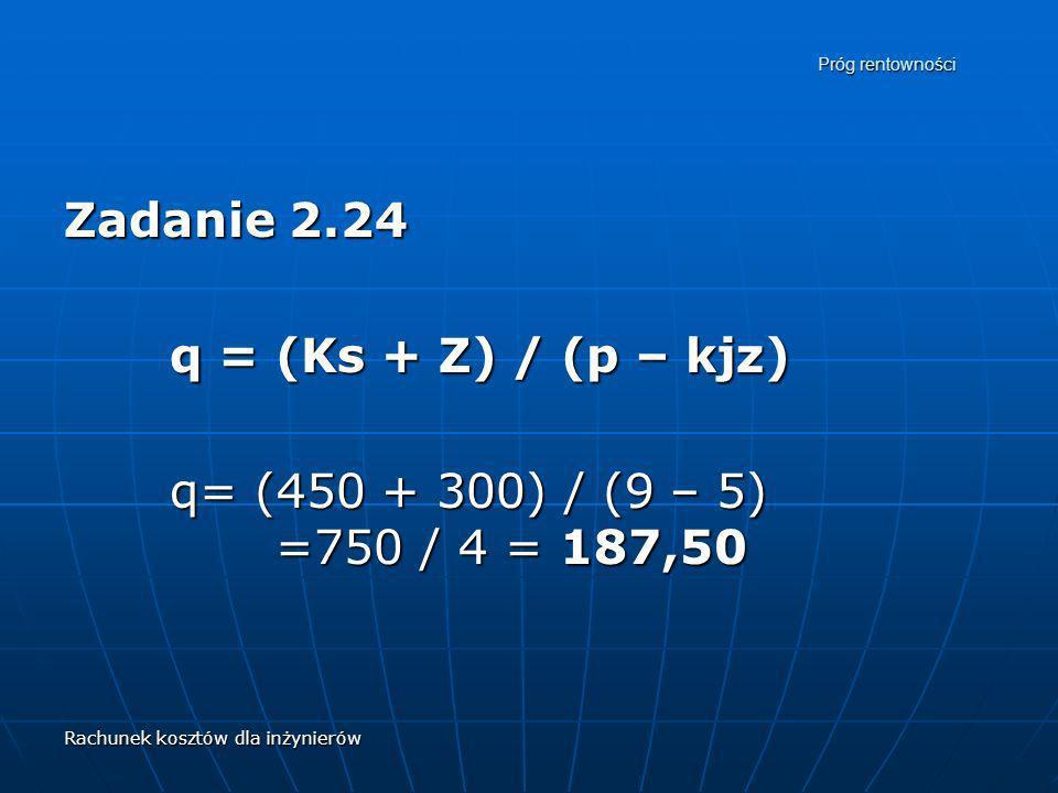 Rachunek kosztów dla inżynierów Próg rentowności Zadanie 2.24 q = (Ks + Z) / (p – kjz) q= (450 + 300) / (9 – 5) =750 / 4 = 187,50