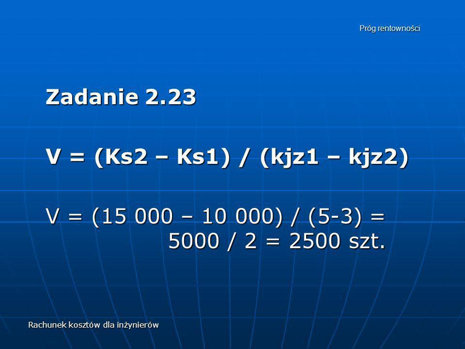Rachunek kosztów dla inżynierów Próg rentowności Zadanie 2.23 V = (Ks2 – Ks1) / (kjz1 – kjz2) V = (15 000 – 10 000) / (5-3) = 5000 / 2 = 2500 szt.