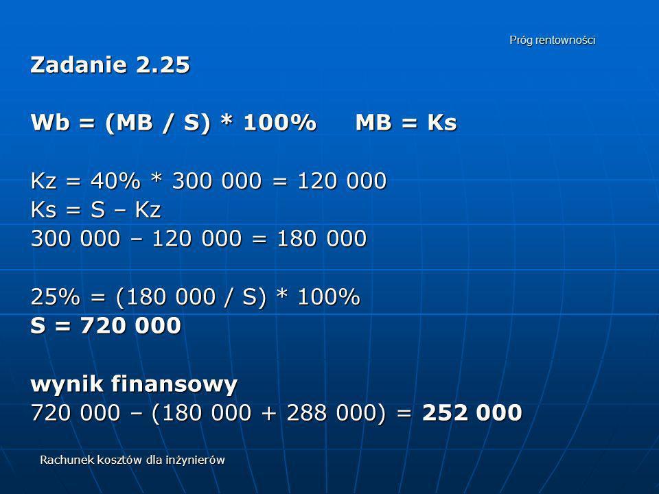 Rachunek kosztów dla inżynierów Próg rentowności Zadanie 2.25 Wb = (MB / S) * 100% MB = Ks Kz = 40% * 300 000 = 120 000 Ks = S – Kz 300 000 – 120 000