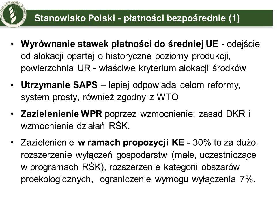 Stanowisko Polski - płatności bezpośrednie (2) Płatność uproszczona dla małych gospodarstw – ważny element upraszczający, który powinien obejmować gospodarstwa do 1500 EUR.