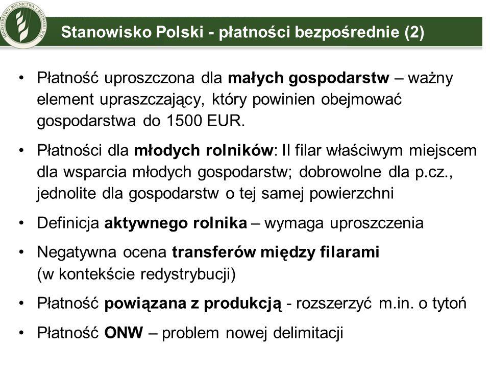 Główne obszary dyskusji - konkluzje PREZ DK Aktywny rolnik –odejście od definicji KE, –dodatkowo lista negatywna (np.