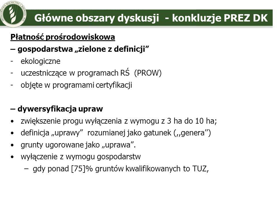 Główne obszary dyskusji - konkluzje PREZ DK – obszary proekologiczne (EFA) zwolnienie z wymogu gospodarstw < 10 ha gruntów ornych p.cz.