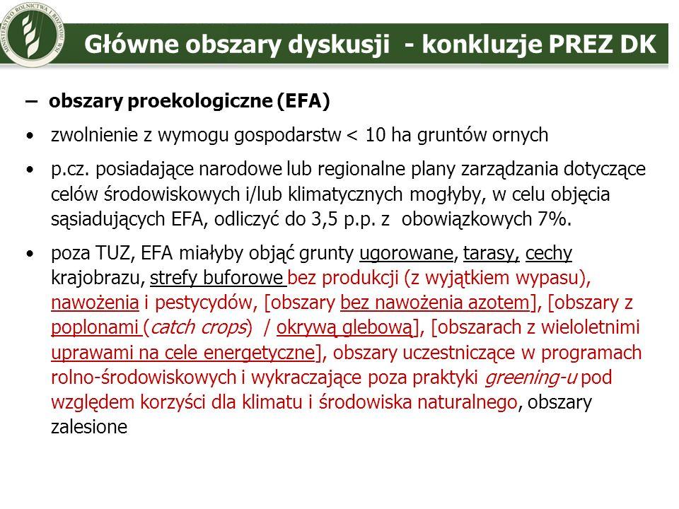 Główne obszary dyskusji - konkluzje PREZ DK – utrzymanie TUZ zmiana definicji TUZ (przywrócenie określenia rośliny zielne; poszerzenie o obszary przydatne do wypasu (możliwość stosowania przez p.cz.