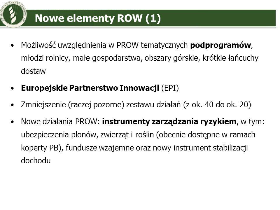 Nowe elementy ROW (2) Brak rent strukturalnych Wielofunduszowy Leader (rozszerzenie na inne fundusze) Program rolno-środowiskowo-klimatyczny i wydzielenie rolnictwa ekologicznego jako oddzielnego działania Nowe kryteria dla obszarów z naturalnymi ograniczeniami (obecne ONW) Kwestia 25% limitu na RŚ