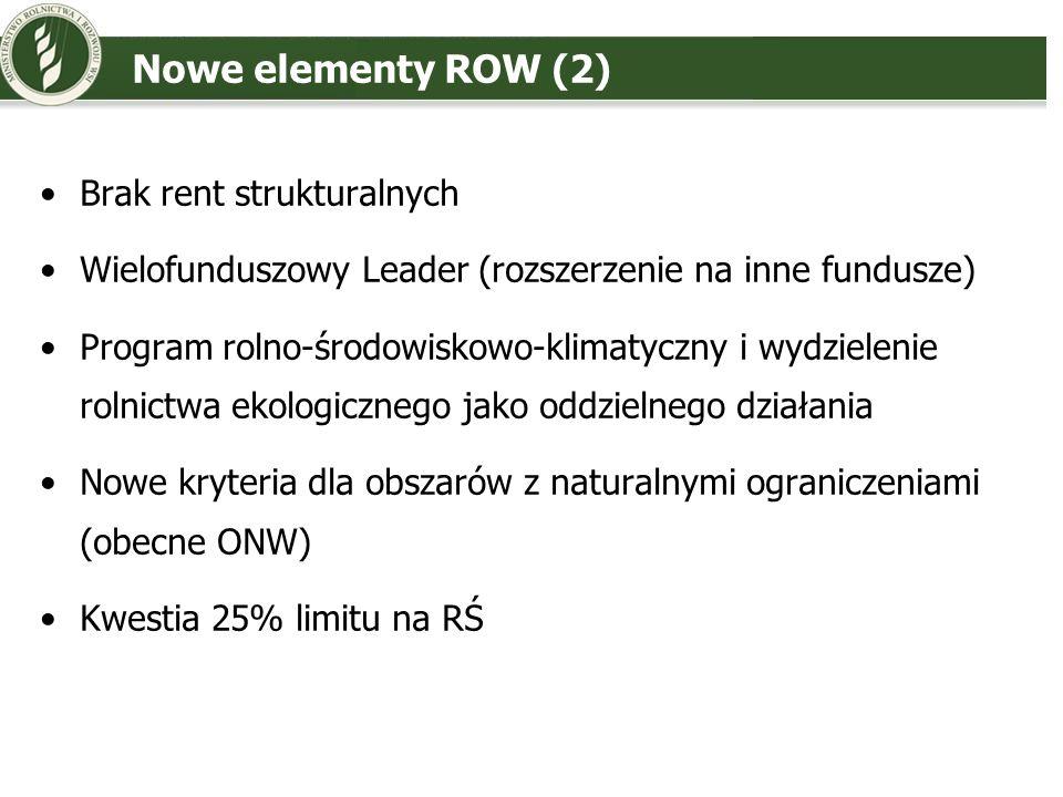 Stanowisko Polski – ROW (1) Zwiększyć udział II filara w budżecie WPR Kryterium spójnościowe istotnym elementem klucza dystrybucji II filara WPR Podział pomiędzy PCz – jak najszybciej (programowanie) Budżet II filara dla Polski – co najmniej na obecnym poziomie 2007-2013 Obszary przejściowe jak w Polityce Spójności VAT jako koszt kwalifikowalny Priorytety – lepsze uwzględnienie: wsparcia konkurencyjności przetwórstwa i gospodarstw, poprawy warunków życia, rozwoju mikro i małych przedsiębiorstw